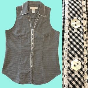 Vintage Eileen West Checkered Top Floral Buttons